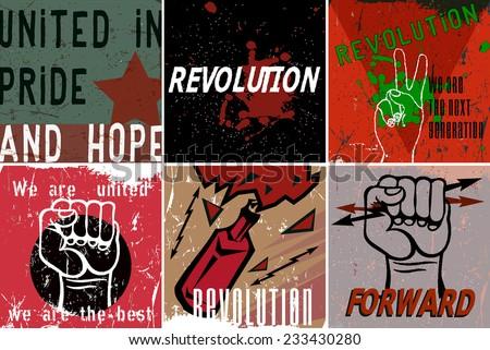 Revolution Propaganda Poster. Vector illustration. - stock vector
