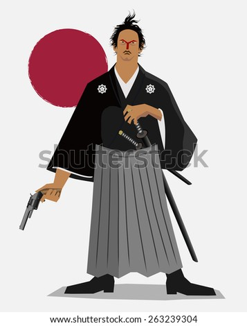 Revolutionist of the Samurai(Sakamoto,Ryoma) - stock vector