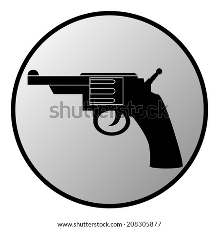 Revolver button on white background. Vector illustration.