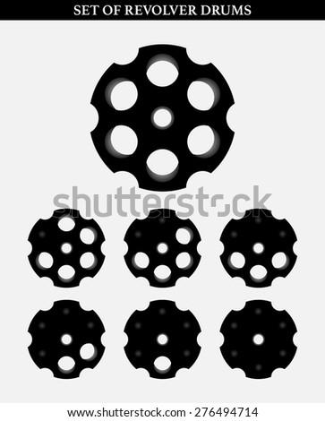Revolver drum on white, set of, vector illustration - stock vector