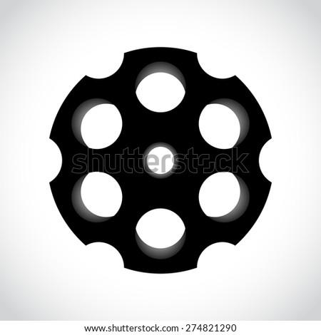 Revolver drum on white , vector illustration - stock vector