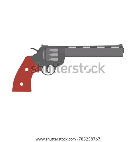 Revolver gun vector pistol vintage illustration handgun. Old shooter firearm