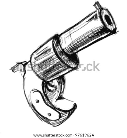 Revolver icon.  Hand drawing sketch vector illustration isolated on white background - stock vector