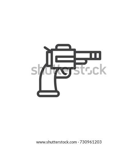Revolver Line Icon Outline Vector Sign Stock Vector 730961203