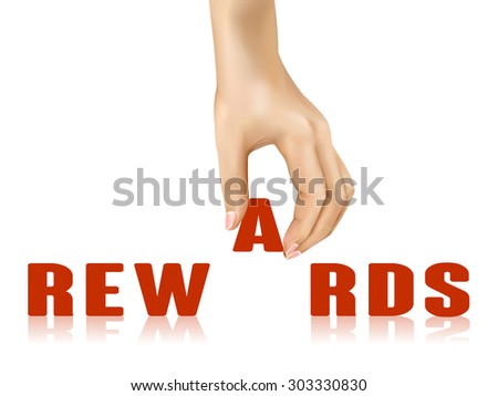 rewards word taken away by hand over white background