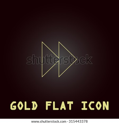 Rewind forward. Outline gold flat pictogram on dark background with simple text.Vector Illustration trend icon