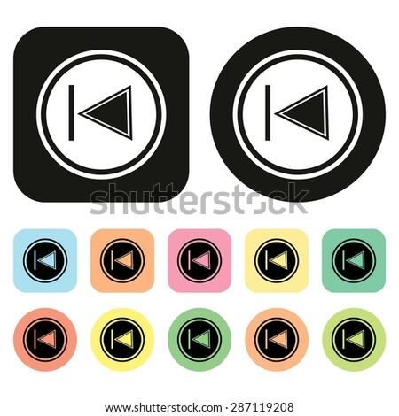 Rewind icon. Previous track button. Back icon. Media. Button. Vector