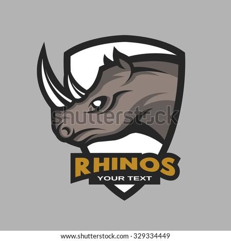 rhino emblem logo sports team stock vector royalty free 329334449