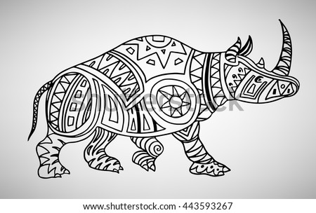 Rhino. Hand-drawn with ethnic pattern. Coloring page - isolated on a white background. Zendoodle patterns. Vector illustration.