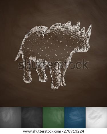 rhino icon. Hand drawn vector illustration. Chalkboard Design - stock vector