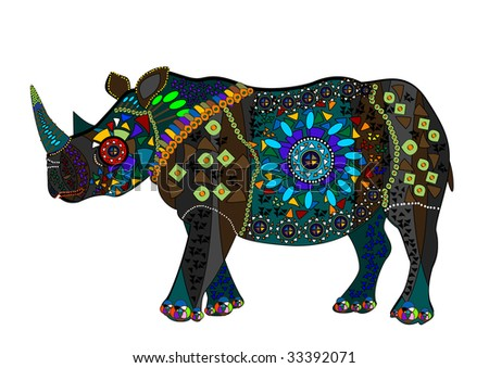 Rhino is an excellent sign of good luck in everything - stock vector