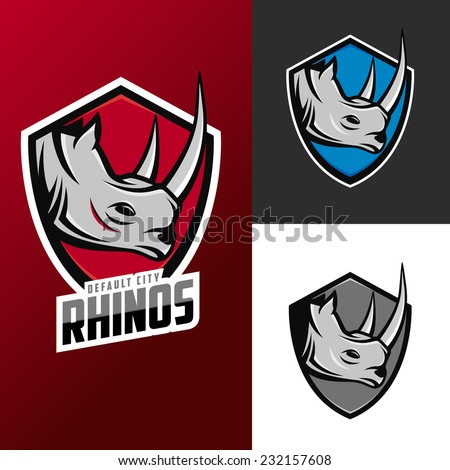 Rhino mascots set for sport teams - stock vector