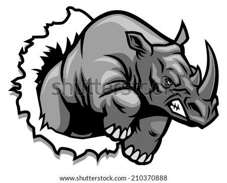 rhino ripping - stock vector
