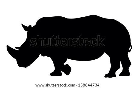 Rhino silhouette. Vector illustration. EPS 8 - stock vector