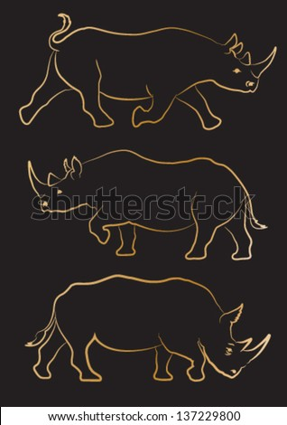 Rhino silhouette with gold outline. Vector set of three - stock vector