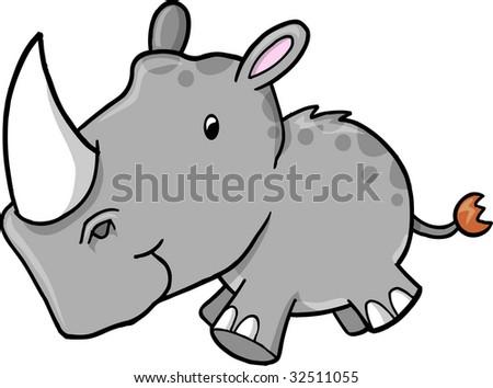 Cute Safari Rhino Vector Illustration Stock Vector ...