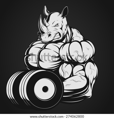 Rhino with dumbbell - stock vector