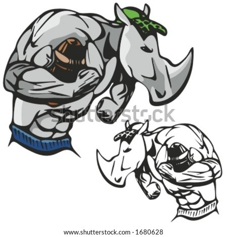 Rhinoceros Football Mascot for sport teams. Great for t-shirt designs, school mascot logo and any other design work. Ready for vinyl cutting. - stock vector