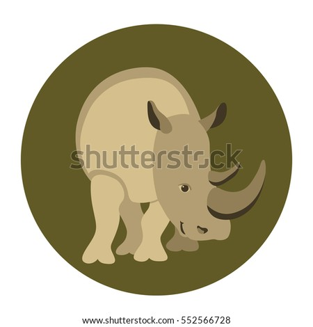 rhinoceros vector illustration style Flat