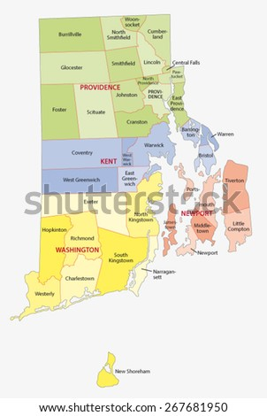 rhode island county and city map - stock vector