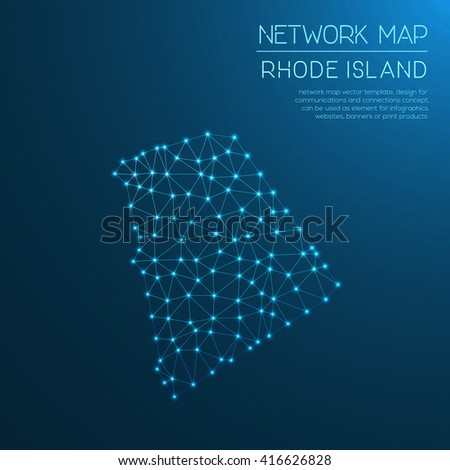 Rhode Island Network Map Abstract Polygonal Us State Map Design Internet Connections Vector Ilration