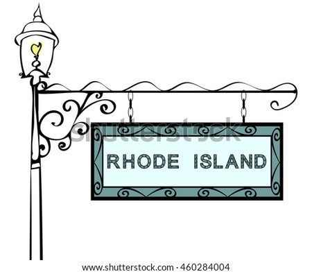 Rhode Island retro pointer lamppost.