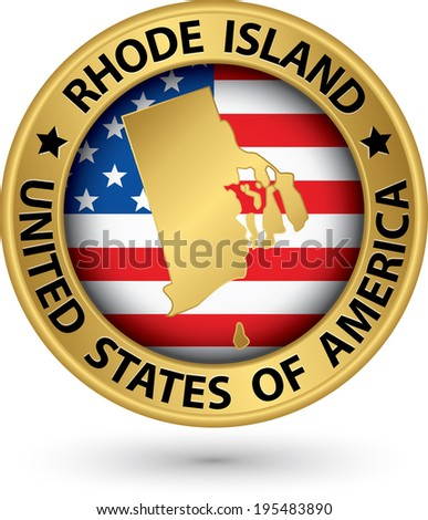 Rhode Island state gold label with state map, vector illustration