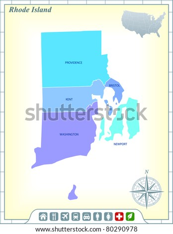 Rhode Island State Map with Community Assistance and Activates Icons Original Illustration - stock vector
