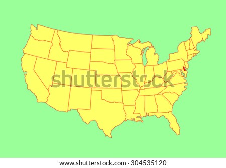 Rhode Island State, USA, vector map isolated on United states map. Editable blank vector map of USA. - stock vector