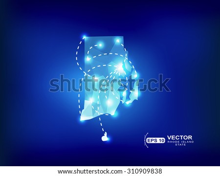 Rhode Island Us State Map Polygonal With Spot Lights Places