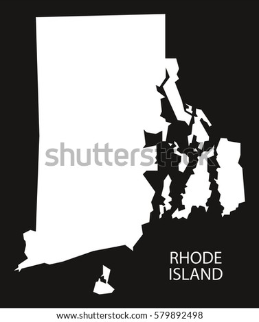 Rhode Island Usa Map Black Inverted Silhouette