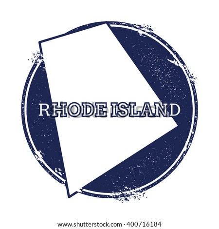 Rhode Island vector map. Grunge rubber stamp with the name and map of Rhode Island, vector illustration. Can be used as insignia, logotype, label, sticker or badge of USA state. - stock vector