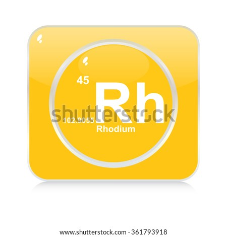 rhodium chemical element button - stock vector