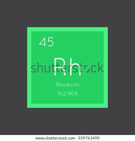 Rhodium simple style tile icon. Chemical element of periodic table. Vector illustration EPS8