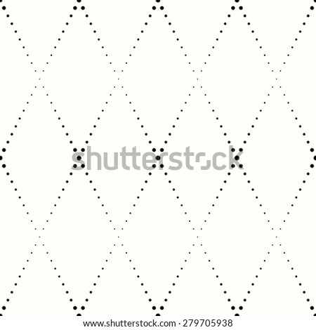 rhombic pattern of small black dots on a white background