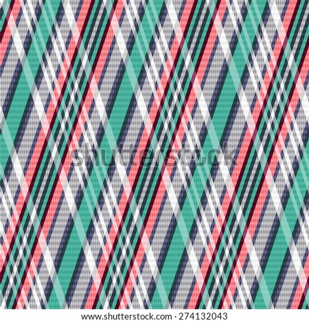 Rhombic seamless vector pattern as a tartan plaid mainly in turquoise, light grey and red colors