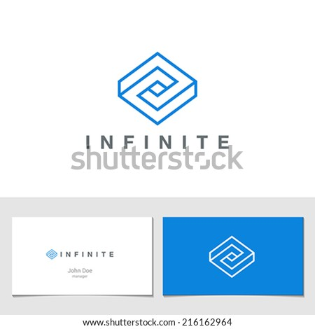 Rhombus Logo Abstract Infinite impossible loop vector design template.  Corporate icon logotype. Creative Square infinity lineart concept. Logic Puzzle - stock vector