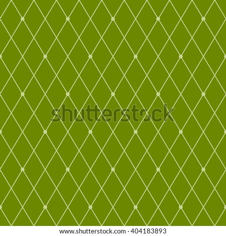 Rhombus seamless pattern. Grid and dots. Stylish geometric background. Bright vector illustration in green colors.