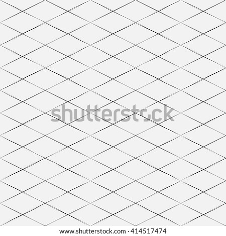 Rhombus vector pattern with periodically changing thickness of line. Subtle black line on grey background. - stock vector