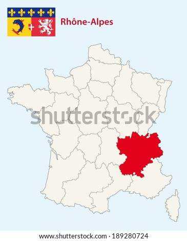 rhone-alpes map with flag - stock vector