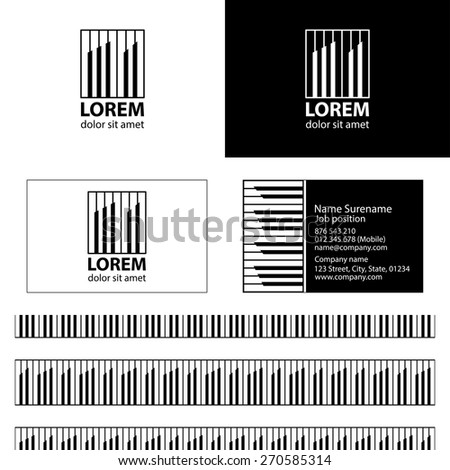 Rhythm building logo vector design with business card template editable and seamless pattern background vector design.Inspiration from piano.