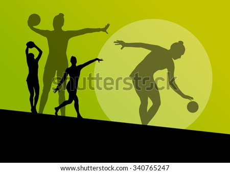 Rhythmic gymnast woman with ball vector abstract background concept