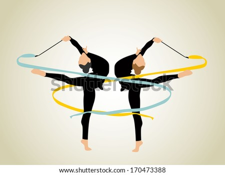 rhythmic gymnastic girl - stock vector