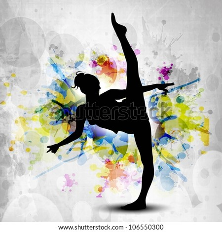Rhythmic gymnastic girl illustration on colorful grunge background. EPS10. - stock vector