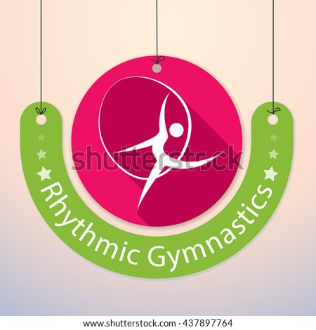 Rhythmic Gymnastics - Colorful Paper Tag for Sports - stock vector