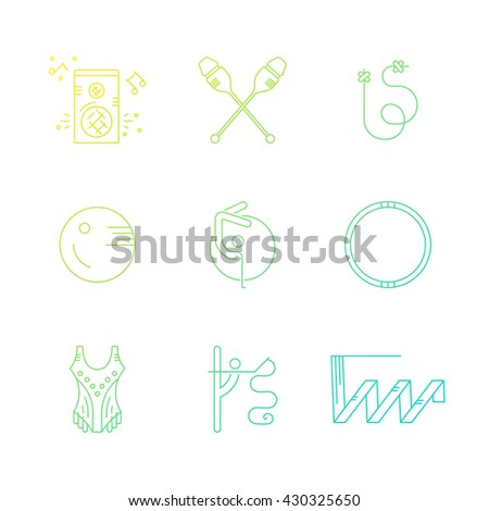 Rhythmic gymnastics equipment, including clubs, ribbon, rope - perfect vector line symbols. Professional sport vector. Unique and modern set isolated on background.