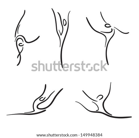 Rhythmic gymnastics. Vector sketches set.