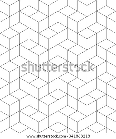 Rhythmic monochrome textured endless pattern with cubes, continuous black and white geometric background. - stock vector
