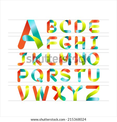 Ribbon alphabet colorful font, Capital letter A, B, C, D, E, F, G, H, I, J, K, L, M, N, O, P, Q, R, S, T, U, V, W, X, Y, Z. Vector illustration. - stock vector