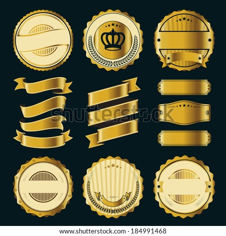 Ribbon and Badge Vector Sets - stock vector